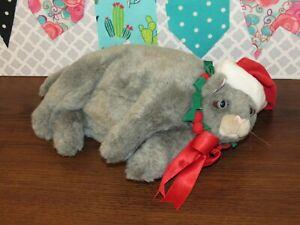 "Dakin Pampered Pets Big Daddy Cat Gray Duchess Christmas Hat Fat Plush Toy 12"""