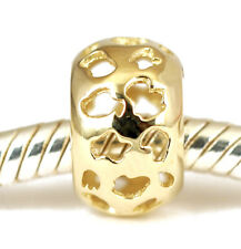 Solid 9Ct 9K Yellow Gold Cute Little Graffiti Bead For Charm Bracelet / Necklace