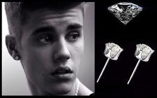 Justin Bieber 8mm 'Oversized' Bling White Gold Plated Diamond Crystal Earrings