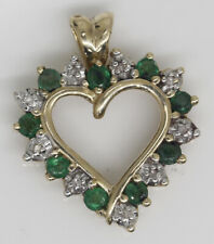 GORGEOUS 14K YELLOW HEART PENDANT WITH 0.35 CTW DIAMONDS AND EMERALD #X7