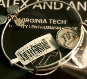 ALEX and ANI - VIRGINIA TECH - Silver-tone VT Charm Bangle Bracelet - Brand New