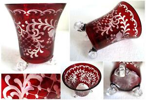 orig alter Becher Pokal Vase geschliffene Ranken in Rot Goldrand Glas Kristall