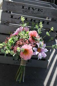Artificial Wedding Flowers Ivory Rose, pink Gypsophila, bride bouquet,
