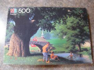 "Milton Bradley Good Old Days ""Swimming Hole"" 500 Piece Puzzle 1986  #4181-15"