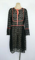 SISTER JANE Dress Size L Black Lace Fluorescent Trim Sheer