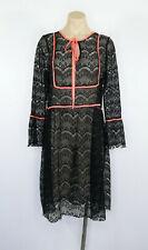 SISTER JANE Dress Size L Black Lace Fluorescent Trim Sheer