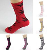 Men Women Unisex Maple Leaf Cotton Marijuana Weed Middle Tube Socks Socks