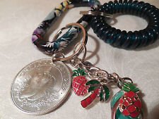 Genuine Bahama Islands Silver Coin One Dollar 1966 Sea Shell with Key Chain Set