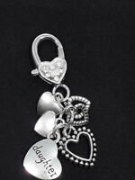 Small CLIP ON CHARMS Bag Clip Silver DAUGHTER Hearts Pretty gift Bag Phone Gift