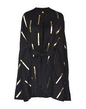PAS POUR TOI Dodo Baror $1,500 poncho metallic gold leather cape coat 38 NEW