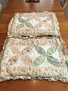 (2) Standard Pillow Shams Floral Quilted Patchwork pink and sage green