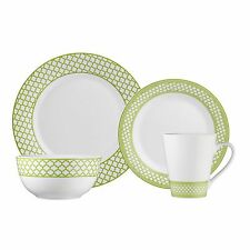 Brilliant - Caprice Green 16 Piece Green & White Porcelain Dinnerware Set Servic