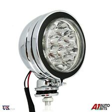 1x Universal Front LED Light 12V Spot Fog Halogen Circle Chrome Lamps Atv Quad