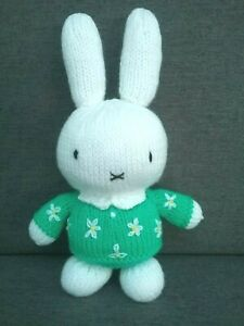 New Hand-Made knitted MIFFY rabbit (green) plush toy vintage Amigurumi