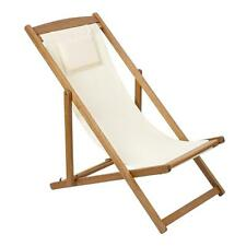 sdraio relax tela ecrù legno balau teak sedia poltrona esterno da giardino