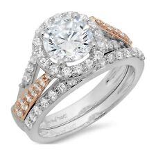 Ring Band set 14k 2 tone Gold 1.90ct Round Pave Halo Moissanite Promise Bridal
