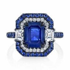 925 Silver Women Rings Gorgeous Blue Sapphire Women Anniversary Jewelry Sz 6-10