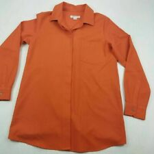 Pendleton Womens Button Front Shirt Orange Long Sleeve Cuff Point Collar USA S