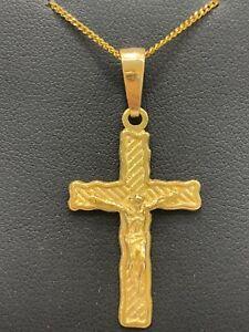 9ct 9k Yellow Gold Crucifix Cross Pendant With Jesus 3.3 Grams. Brand New