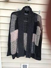 Marystyle Womens Italy Black&Gray Sweater Open Cardigan Wool/Alpaca Blend SZ M