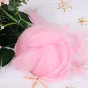 100pc Pink Fluffy Swan Feathers 4-8cm Card Making Crafts Bubble Balloons