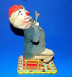 1950's Tin Litho Battery Operated Circus Clown Japan - Nose Lights - No Monkey