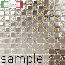 Dior Gold Glass Square Mosaic Tiles Sheet for Walls Floors Kitchen Bathroom Sample Approx 6cm X 6cm