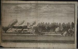 FORT NELSON BRITISH COLUMBIA CANADA 1712 DAMPIER ANTIQUE COPPER ENGRAVED VIEW