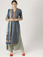 Indian Kurta Kurti With Palazzo Pant Ethnic Dress Set Top Tunic Bottom Combo New