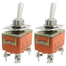 New 2 Pcs Metal Resin AC 250V 15A Amps On/Off 2 Position Dpst Toggle Switch DT