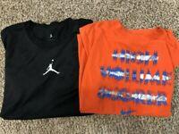 2 Youth SZ L Nike Jordan Basketball T-Shirts 1 Black Jumpman & 1 orange KD