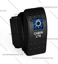 Labeled Marine Contura II Rocker Switch Carling, lighted - Cabin Lts-Blue lens