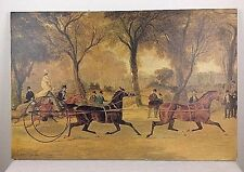 "Vintage 20"" x 30"" J F Herring English Trotting Horses & Men Art Print on Canvas"