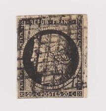 Timbre de 1849  N°3 Oblitéré 20c Noir sur Jaune non dentelé Côte 65€