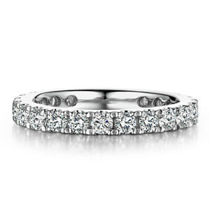 Engagement&Wedding Bands Ring Pave Setting 1.2ct Moissanite Solid 18K White Gold