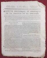 Rare Journal Révolution Française 1795 Gazette Historique et Politique Europe