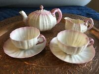 Belleek China Rare Pink Coral Shell tea for two teapot 2x cups saucer and jug