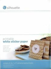 """Silhouette Printable White Sticker Paper. 8.5"""" x 11"""" Sheets - 8ct. ~ NEW"""