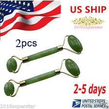 2pcs Face Body SPA Massage Roller Massager Jade Stone Anti-aging Cold Therapy