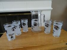 Set of 5 Glass Jack Daniel Tumblers & Pitcher CERVE Made in Italy