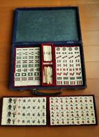 Vintage Japanese Mah Jong Bamboo Back Tile Set in Case  #103
