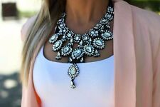 Bold Clear Pear Shape Rhinestone Crystal Bib Necklace Choker Drag Queen Pageant