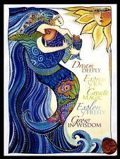 LAUREL BURCH Mermaid Girl blue Hair Fish Sun Waves -  Blank Greeting Card - NEW