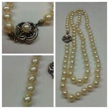 Collana di perle oro 585 CHIUSURA 72 cm con zaffiro Akoya perle collier di perle