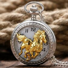 big horse necklace pendant pocket watch silver tone long chain vintage style