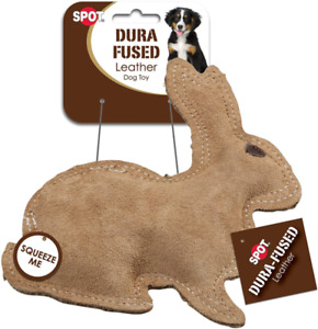 Pet Dura-Fused Leather Dog Toy Small Rabbit Squeaker Heavy-Duty Thread Stitch