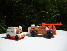 ☺ Jouet Camion De Pompier + L'Ambulance Fisher Price Vintage