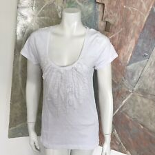 j. Crew J.crew White Sequined Mesh Scoop Neck Womens T-Shirt shirt Top SZ Large