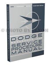 1958 Dodge Auto Manuale di Negozio 58 Servizio Riparazione Coronet Royal