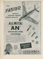 1952 Allmetal Screws Aviation Ad North American Aviation F-86 Sabre Jet Fighter